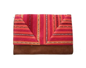 Cover orange Bohemian chic organic cotton and camel suede