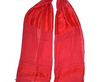 soft fine silk satin scarf Red