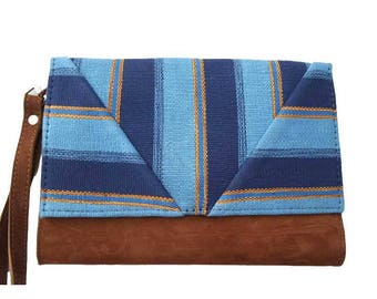Pocket striped blue Bohemian chic organic cotton and camel suede