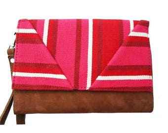 Pink clutch bag Bohemian chic organic cotton and camel suede