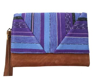 Purple Bohemian chic organic cotton and cover camel suede