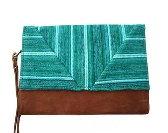 Green Bohemian chic organic cotton and cover camel suede