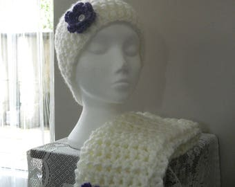 Cream Hat and Scarf with Purple Flower