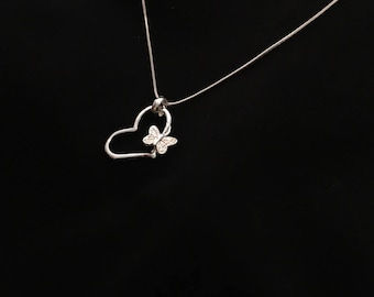 Heart Butterfly pendant necklace