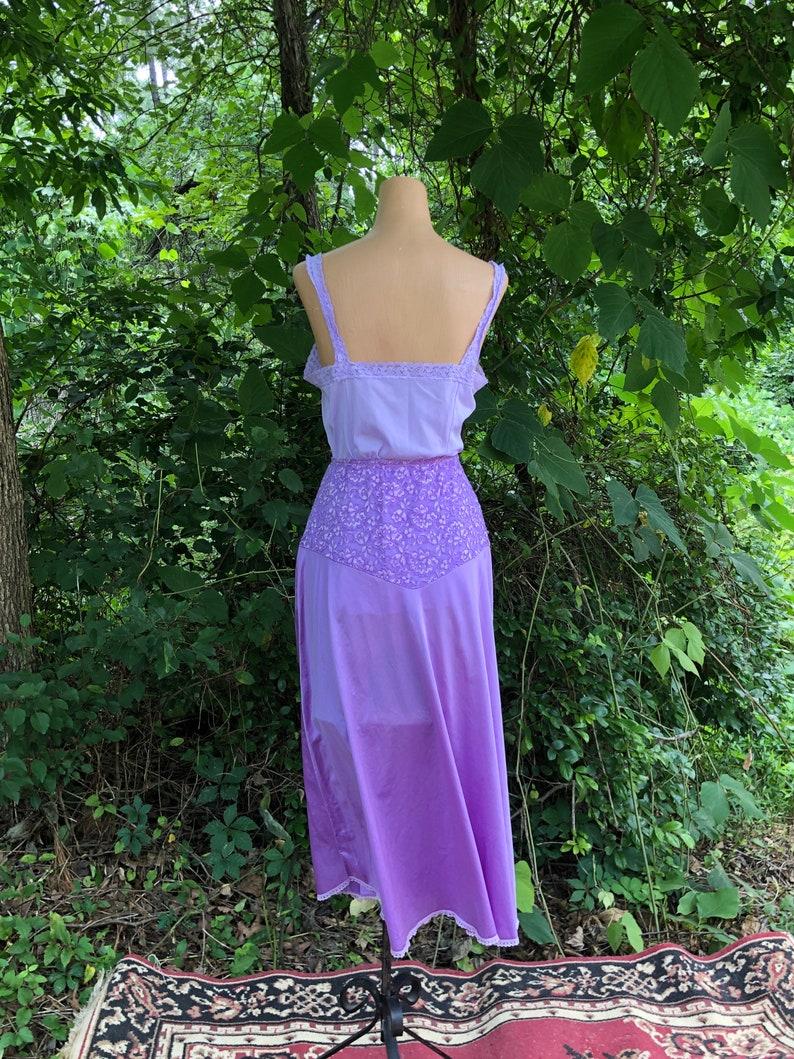 Light Purple Hand-Dyed Vintage Half Slip and Camisole Set Size M Vintage Purple Slip Festival Wear