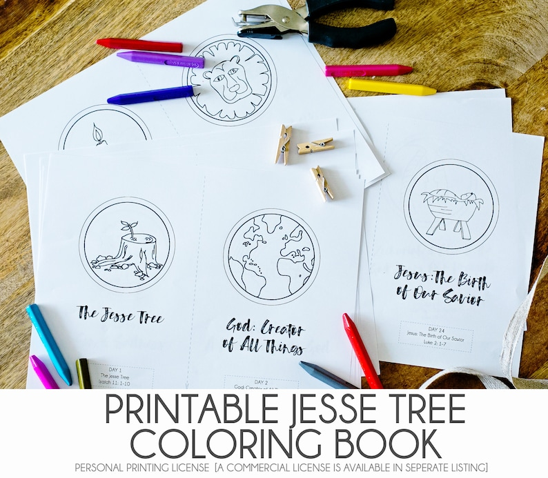 graphic relating to Printable Jesse Tree Ornaments identified as Do-it-yourself JESSE TREE - Printable Pdf Jesse Tree Coloring Guide - Xmas Introduction Ornament Video game