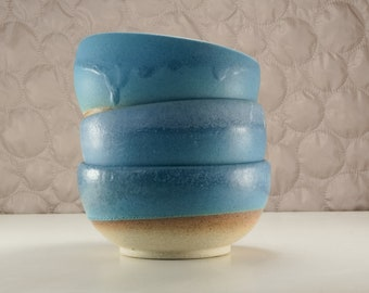 Set of 3 pottery turquoise  bowls, 300 ml/10 oz hand made bowls with matt glaze, ready to ship with free shipping