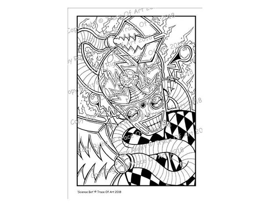 Original Graffiti Art Coloring Sheet Science Bot By Artist Trace Of Art