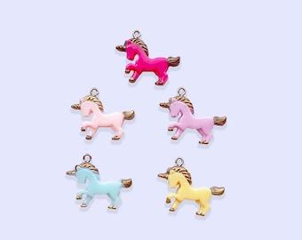 2pc or 5pc Small Unicorn Charm - Unicorn Charm - Resin Charm -Unicorn Necklace -Charm Bracelet - Kawaii Charm - Kawaii Necklace - kids charm