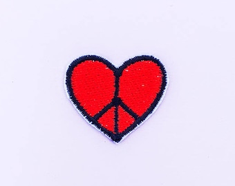 Red Heart Peace Sign Iron On Patch - Mini Patch -