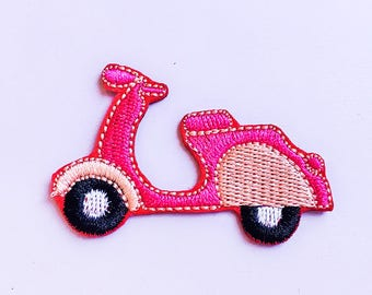 Pink Moped Iron On Patch - Italian Moped - Kawaii Patch - Cute Patch - Back Patch - Embroidery Patch - Jacket Patch - Retro Patch - Scooter