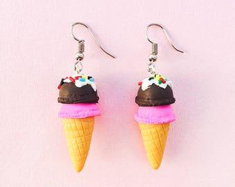 Clay Chocolate Ice Cream Cone Earrings - Kawaii Ice Cream -Harajuku Earrings -Ice Cream Party -Cute and Girly -Pastel Goth -Dessert Earrings