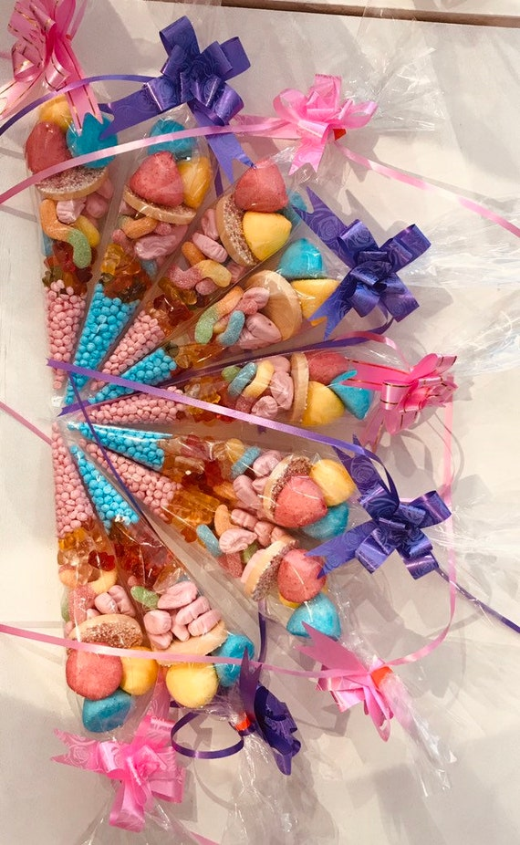 10 Pre Filled Sweet Cones Birthday Party Bags