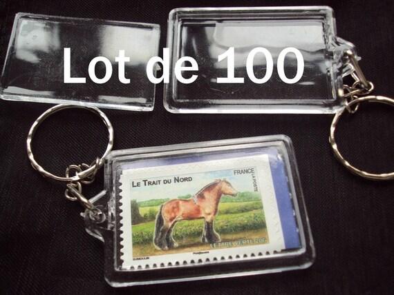 100 x Porte clé CARRÉ Photo plastique transparent création article publicitaire