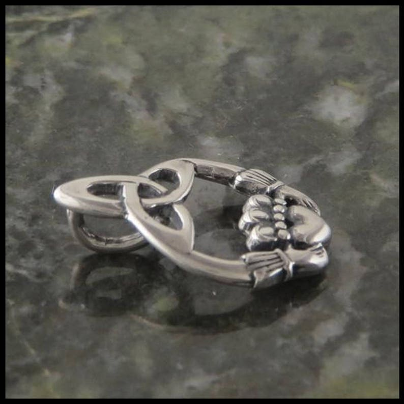 Irish Claddagh Trinity Pendant and Trinity Earring Set in Sterling Silver