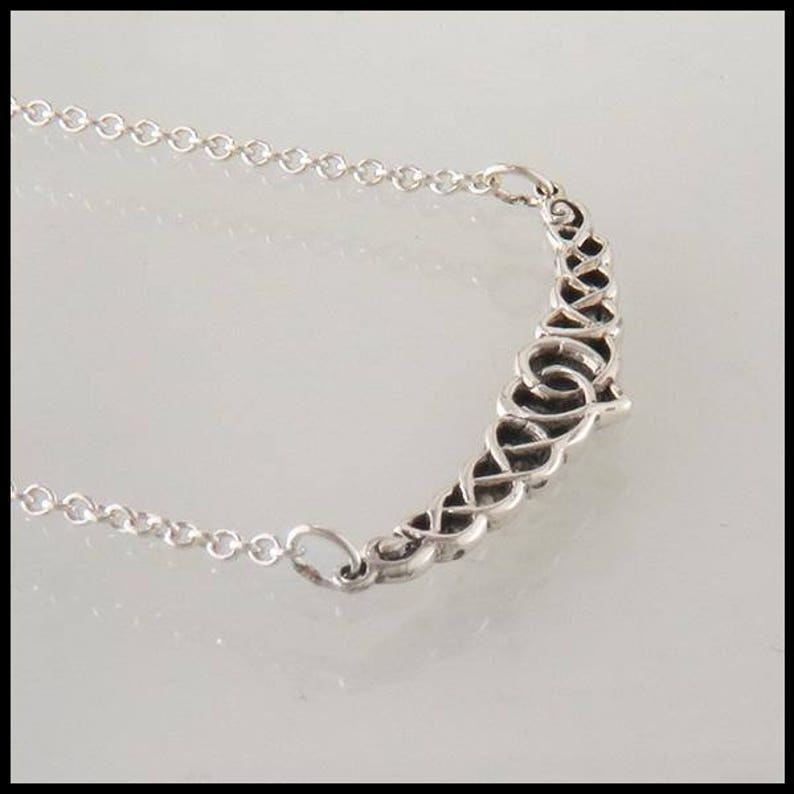 Heart Knot Necklace and Ear Climber Set in Silver