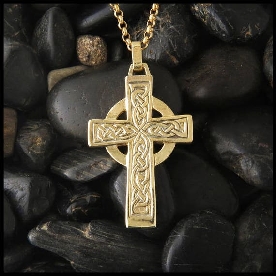 Azaggi Gold Plated Sterling Silver Handcrafted Religious Celtic Cross Pendant With Lobster Claw Clasp P0039G/_pc