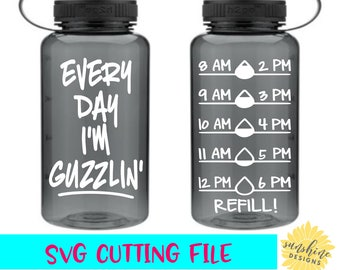 Water Tracker svg, Every Day I'm Guzzlin' svg, Water Intake svg, Water Bottle svg, Water Level Tracker svg, Water Measurements svg