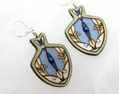 Wooden earrings with glass crystals. Fish pattern. Handpainted unique design. Gift for Her. Estonian jewelry. Plywood jewelry.