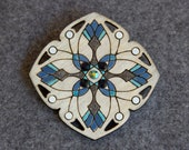 Handpainted wooden brooch with glass crystals, gift for her, romantic unique design, Estonian jewelry, mandala pattern, plywood finery