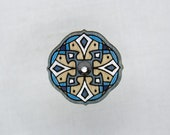 Wooden brooch with glass crystal. Handpainted unique design. Estonian jewelry. Mandala pattern. Plywood finery.