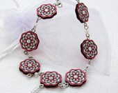 Necklace with Glass Crystals. Gift for Her. Romantic unique design. Estonian jewelry. Mandala pattern. Handpainted Plywood