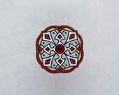 Handpainted wooden brooch with glass crystal, gift for little lady, romantic unique design, Estonian jewelry, mandala pattern, plywood