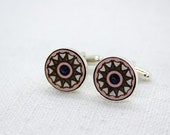Wooden Cuff Links with Glass Crystal. Handpainted geometric unique design. Gift for Him. Estonian jewelry. Mandala pattern. Plywood finery.