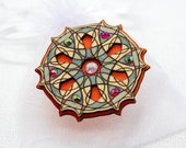 Wooden Brooch with Glass Crystals. Gift for Her. Handpainted Unique Design. Estonian Jewelry. Mandala Pattern. Plywood Finery.