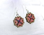 Wooden earrings with glass crystal. Handpainted romantic unique design. Gift for Her. Estonian jewelry. Mandala pattern. Plywood jewelry.