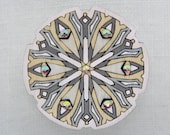 Brooch with glass crystals. Handpainted wooden finery. Gift for Her. Romantic unique design. Estonian jewelry. Mandala pattern.
