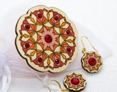 Wooden Brooch and Earrings Set with Glass Crystals. Gift for Her. Romantic Unique Design. Handpainted Estonian Jewelry. Plywood Finery.