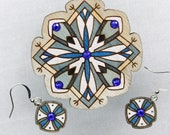Handpainted wooden brooch and earrings set with glass crystals, gift for her, romantic unique design, Estonian jewelry, plywood finery