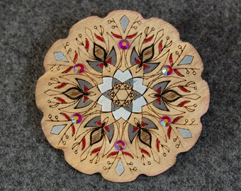 Handpainted wooden brooch with glass crystals, gift for her, romantic unique design, Estonian jewelry, mandala pattern