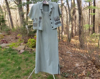 Vintage 90's Nina Piccalino Long Dress and Short Jacket Sage Green Cotton Painted