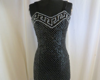Vintage 90's Sequin Dress Attitudes by Debra Sm Black with Silver v Curvy