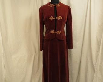 58a193a610de Edwardian Velvet Floor Length Skirt Set Antique Look Suit Sm Med 6 Vintage  80 s Unique Elegant OOAK