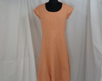 3f1a0be2a26 Peach Linen Dress Vintage 90 s Midi to Long A Line short Sleeve Shift Made  in India 10P J Jill Lined Simple Minimalist