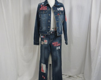 British Vintage Denim Set Pepe Jeans London England Pride XXS Jean Jacket    Jeans sz 24 Highly Embellished Great Look Super Fun 78e8ff177