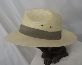 aa03b3207254f Vintage Fedora Hat Classic Natural Fiber Mesh by Dorfman Pacific Cream  White Med Lg Vented