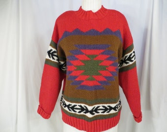 6a56e385c Red Tribal Pattern Knit Sweater Thick Cotton Ramie 80 s - 90 s Lizwear  Pullover w Shoulder Pads Beautiful Med Heavyweight Long