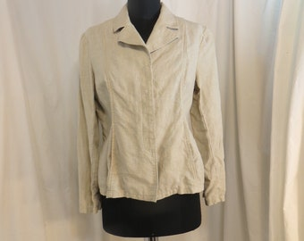 f8f51ac5efc0 Linen Jacket Natural Flax Color Vintage 90 s Coldwater Creek Size P8 Classic  Style Unlined