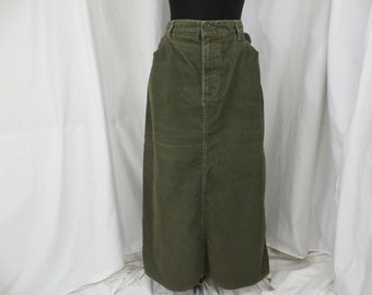 ed12d960b8 Green Corduroy Skirt Cotton Bland by Eddie Bauer XL Long Casual Pockets Vintage  90's w Lycra for Stretch Olive Tone Light Wear
