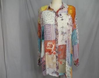 FUNKY BOHO PATCHWORK ABSTRACT ROSE STITCH TUNIC COTTON DRESS MULTI XXL 12 14