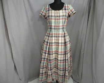 5fcec666333 Country Plaid Cotton Dress Vintage J Crew Cream Red Blue Feminine L 14  Short Summer Sleeve Sundress Colorful