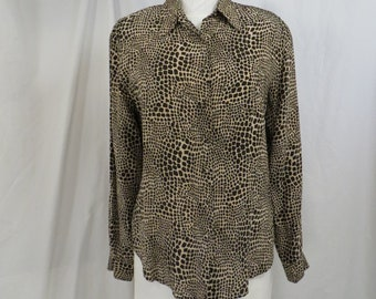 aeeb18beb543 Animal Print Giraffe Silk Shirt Vintage Nineties Blouse Complex Print  Neutral Colors Long Lord & Taylor Sleeve