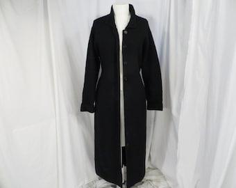 Black Sweater Coat Jacket Long Knit Formal Dressy Med Richards   Jones Med  Vintage 90 s Quality Dramatic 2ad0bb865fdb