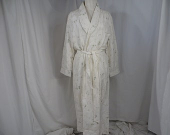 f94bc1b6823 Silk Robe Long Traditional Wrap by Willow Blossom Cream w Sage Embroidered  Pattern Comfy Classic Vintage 90's Lingerie