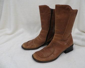 c176cee29bd8 Zita Maria Italian Leather Women s Short Boots Sz 38 US 7.5 or 8 Vintage  80 s Unusual Square Toe Low Heel Fun Styling