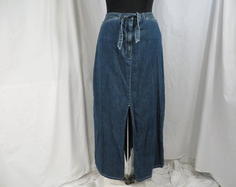 b562198c974 Vintage Denim Skirt Ann Taylor Tie Front Blue Jean Sm XS 4 6 100 percent  Cotton Straight Long Length Light Wear